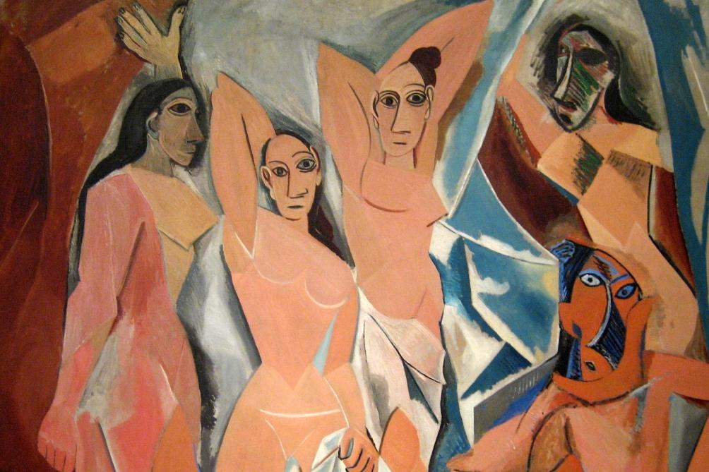 Picasso's avant-gardistische werk Les Demoiselles d'Avignon. De vormentaal lijkt overeen te komen met die van prehistorische venusbeeldjes. (foto: Wally Gobetz)