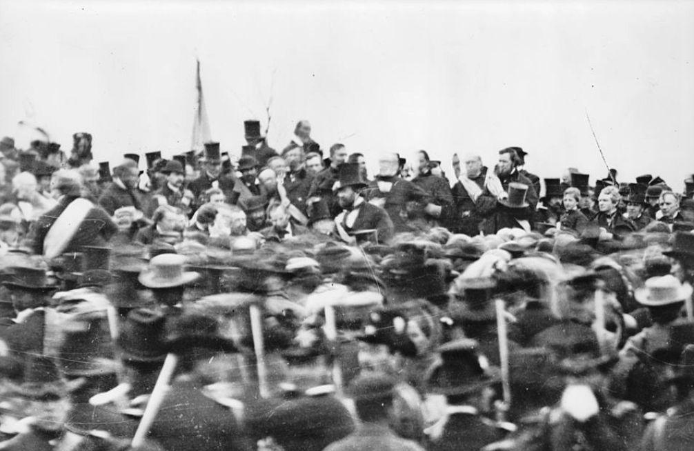 Abraham Lincoln arriveert bij jet Soldiers' National Cemetery in Gettysburg, Pennsylvania. (foto: Wikimedia)
