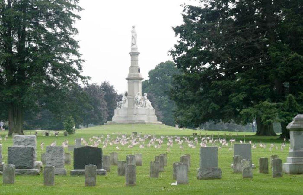Uitzicht op het Gettysburg National Cemetery dat vandaag de dag opengesteld is voor publiek (foto: Wikimedia).