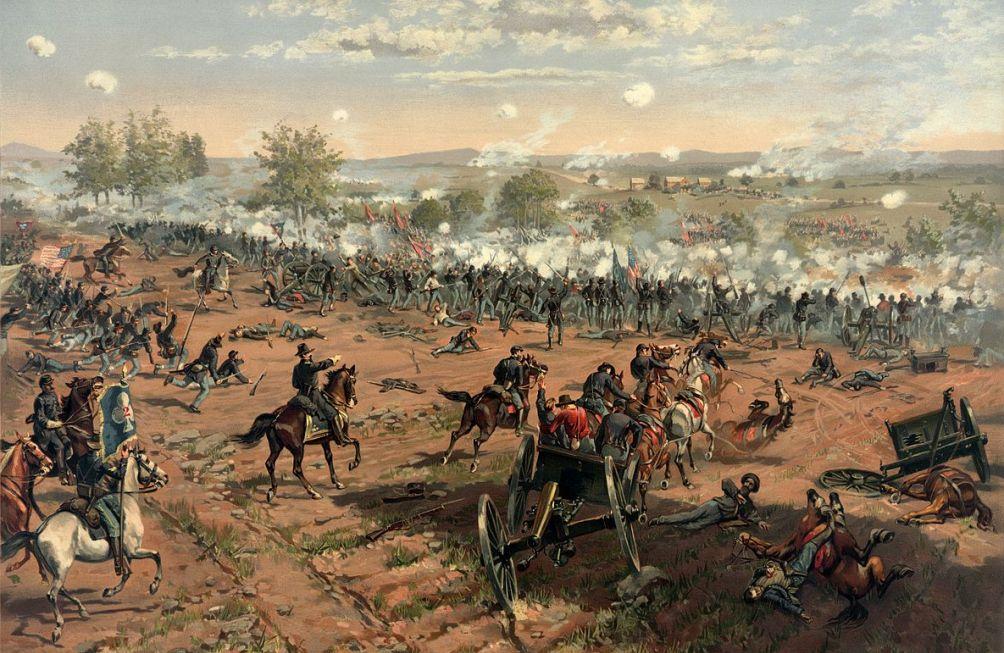 Het slagveld tijden de Slag van Gettysburg. Dit schilderij van Thure de Thulstrup (1848-1930) laat goed zien hoe verwoestend deze slag was (foto: Wikimedia).
