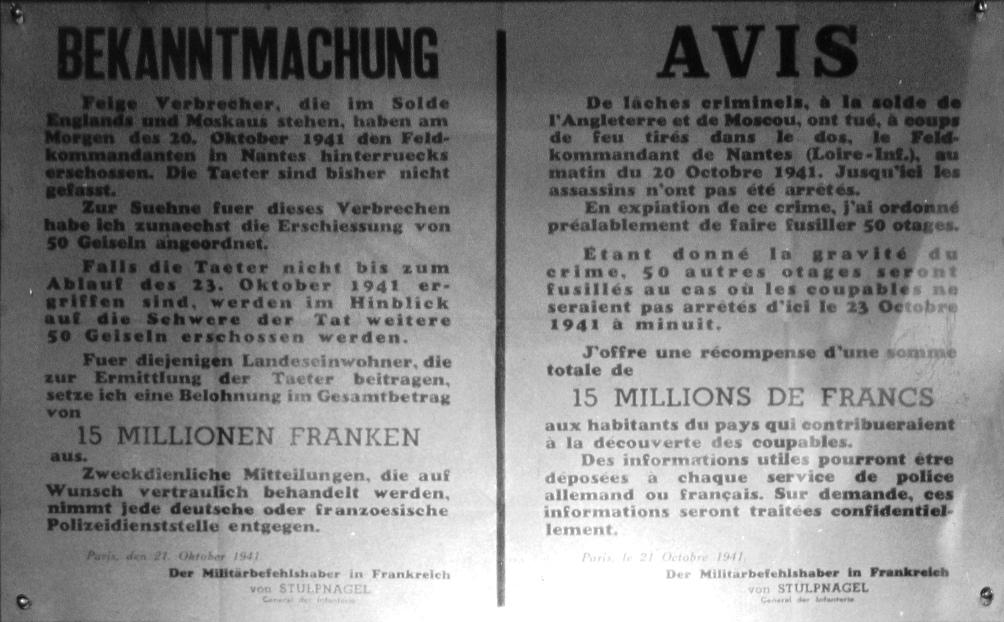 Bekendmaking in het Duits en Frans van de executie van 150 mannen als de dader van de aanslag niet gevonden wordt. (foto: Wikimedia)