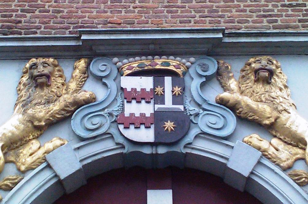 Familiewapen Van Arkel - De la Kethullen in het poortgebouw van kasteel Ammersoyen.