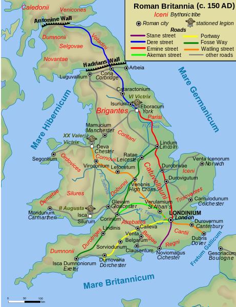 Op deze kaart zie je hoe het Romeinse Britannia er rond 150 n.Chr. uitzag. (foto: Wikimedia)