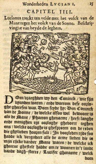 17e eeuwse illustratie bij de Waargebeurde Geschiedenis van Lucianus. (foto: Wikimedia)