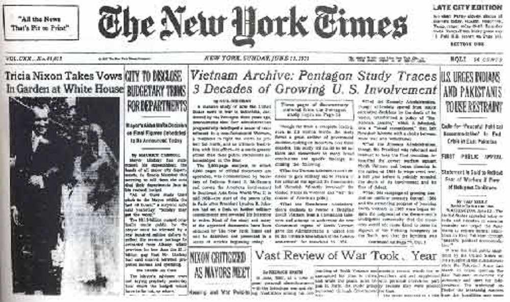 Op 13 juni 1971 publiceerde de New York Times de eerste delen van de Pentagon Papers (foto: ellsberg.net).