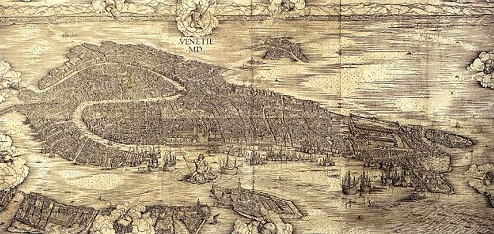 Aan het einde van de 15e eeuw maakte de Italiaanse kunstenaar Jacopo de Barbari deze beroemde en zeer gedetailleerde houtsnede van Venetië.