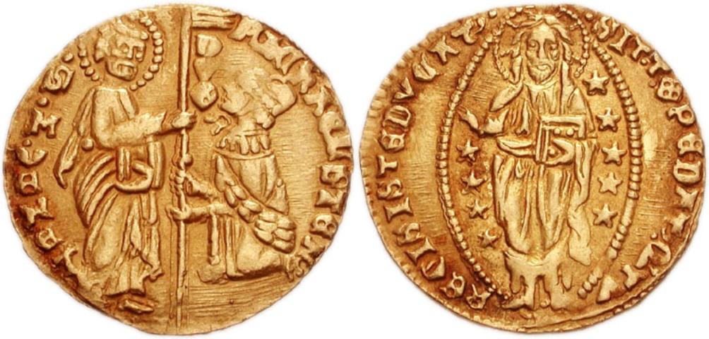 Een gouden ducaat uit Venetië, geslagen in de 14e eeuw.