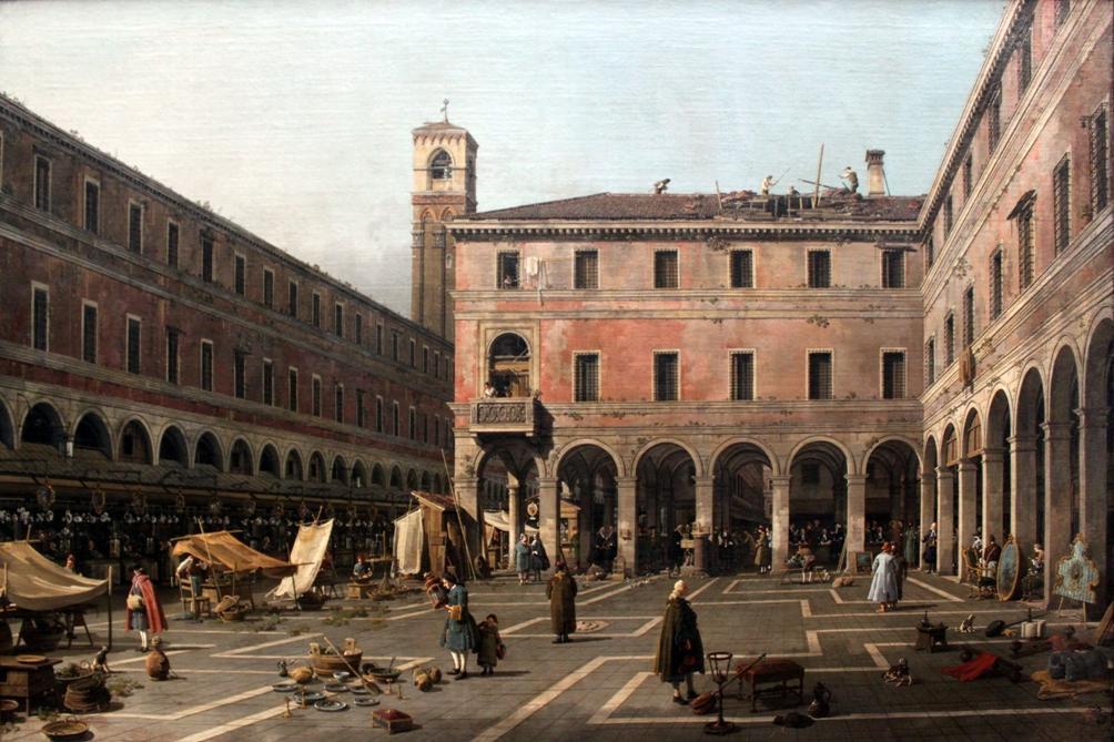 Op dit schilderij van de Venetiaanse schilder Canaletto (1697-1768) is de Campo di Rialto afgebeeld. In dit commerciële hart van de stad waren onder anderen de geldwisselaars actief.