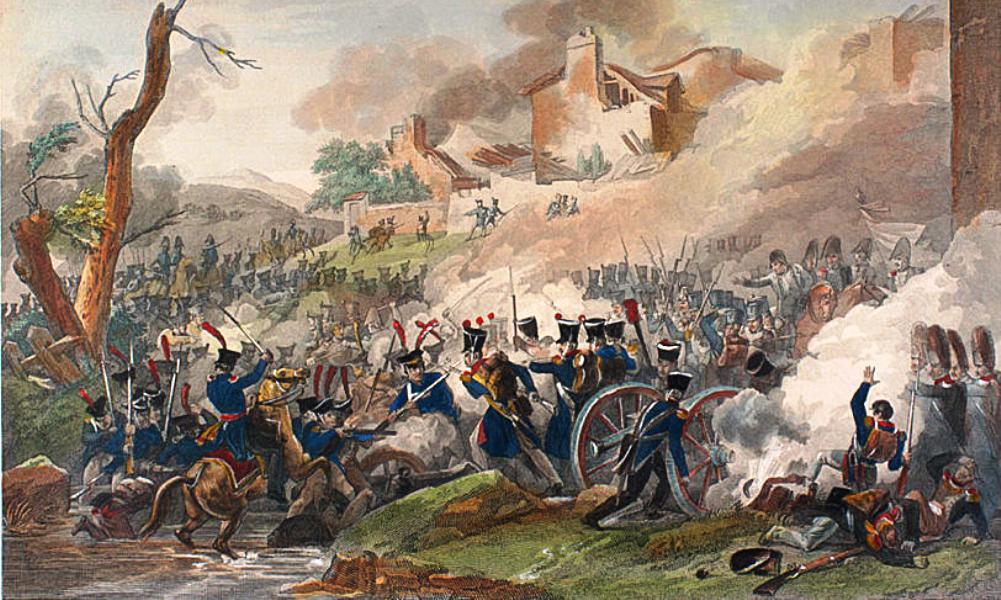 De chaos van het slagveld wordt geïllustreerd op deze gravure van een schermutseling tijdens de Slag bij Leipzig.