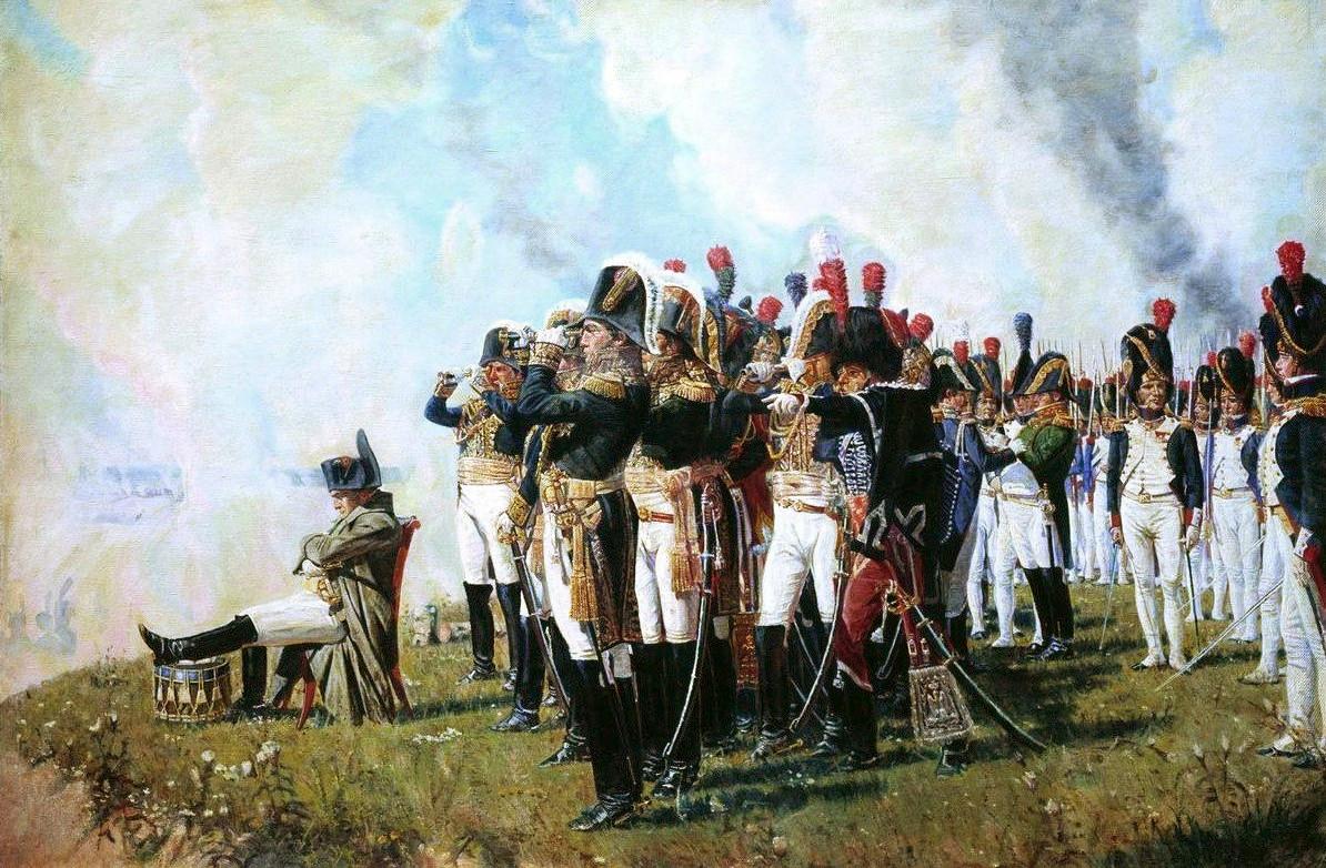 Napoleon en zijn maarschalken overzien het slagveld tijdens de Slag van Borodino door Vasiliy Vasilyevich Vereshagin, 1897.