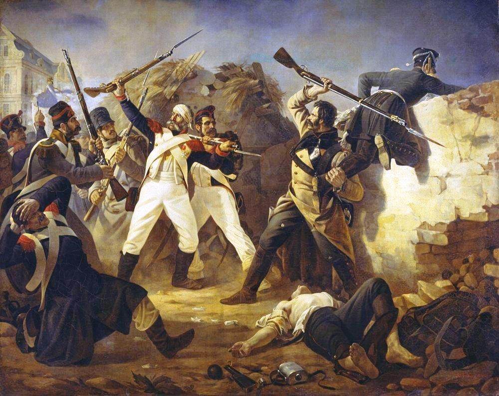 Gevecht tussen Franse en Russische soldaten, schilder onbekend, 1846.