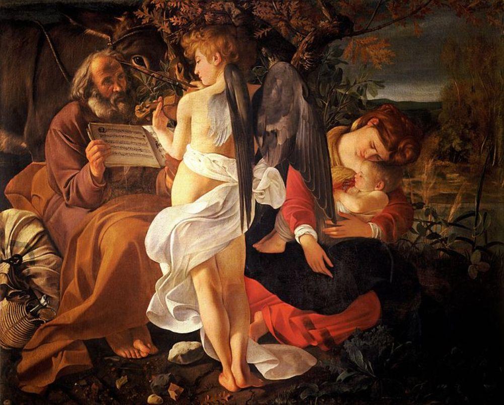 Rust tijdens de vlucht naar Egypte van Caravaggio (1571-1610).