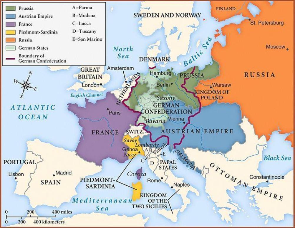 Kaart met nieuwe nationale grenzen na het Congres van Wenen. (foto: Wikimedia)
