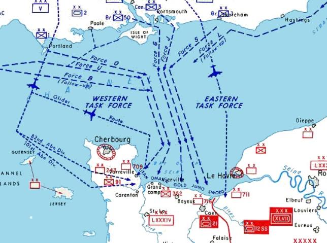Een detail van de kaart met de geallieerde plannen om Normandië binnen te vallen. Op de kaart is onder andere Gold Beach te zien, het strand waar de bodemmonsters werden genomen. (foto: Wikimedia)