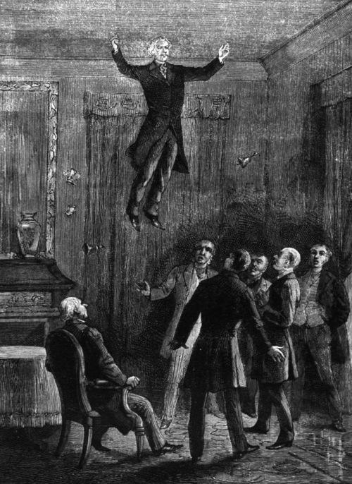 Daniel Dunglas Home voert een levitatie uit, en verheft zichzelf in de lucht (lithografie van Louis Figuier uit 'Les Mystères de la science' (1887).
