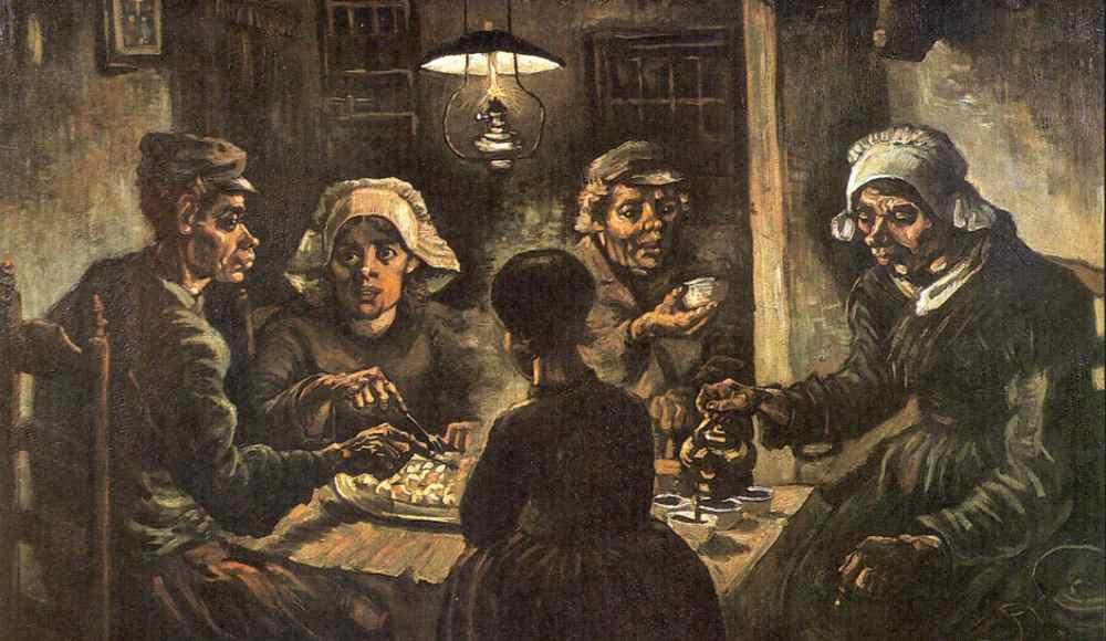 In 1885 schilderde Vincent van Gogh De aardappeleters, een boerse gezin dat een simpele, 'typische' maaltijd nuttigt. (foto: Wikimedia)