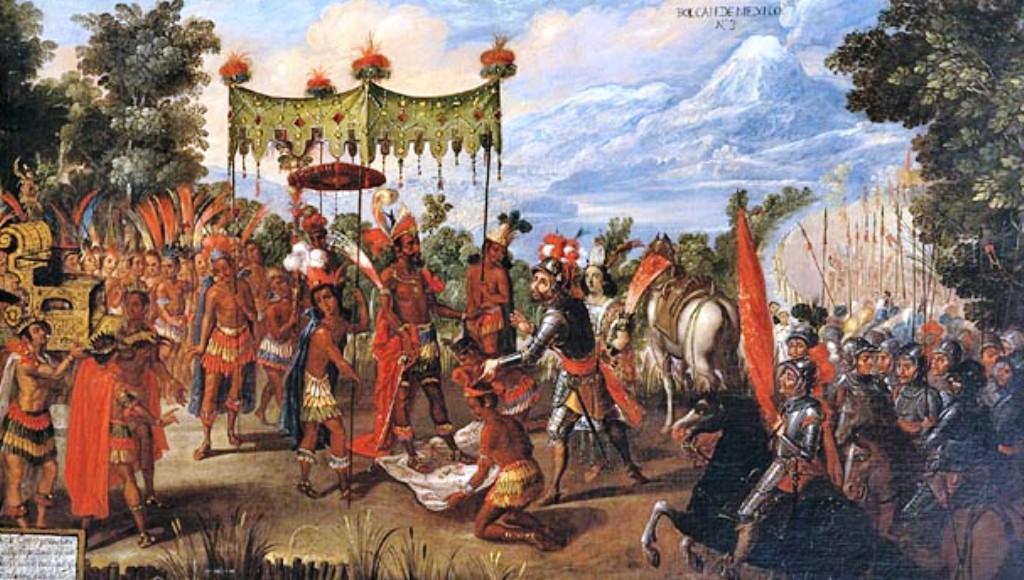 Hernan Cortés ontmoet de Azteekse heerser Moctezuma II, die naar verluidt meer dan 60 bekers xocoatl per dag zou hebben gedronken (foto: Wikimedia)