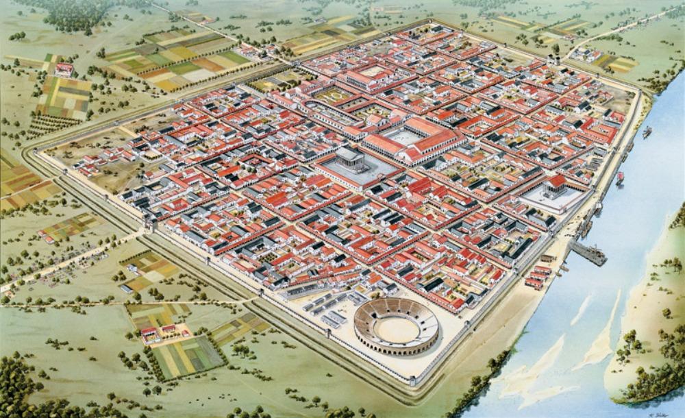 Plattegrond van de Romeinse stad Colonia Ulpia Traiana in de tweede eeuw n.Chr.. Nu is hier Archäologischer Park Xanten te vinden. (tekening: H. Stelter)