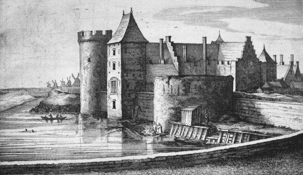 Tekening van het 'Casteel te Medemleck' van J. Blaeu.