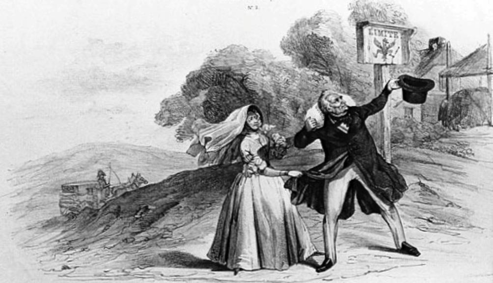 Spotprent van het vertrek van Willem I en Henriette d'Oultremont de Wégimont naar Pruissen uit 1840. (Foto: Wikimedia)