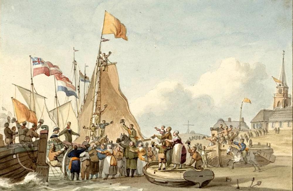 De aankomst van Willem Frederik op Scheveningen. (foto: Wikimedia)