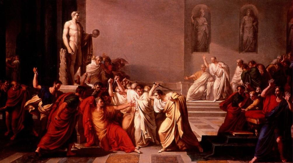 De dood van Caesar geschilderd door Vincenzo Camuccini, in 1798. (foto: Wikimedia)