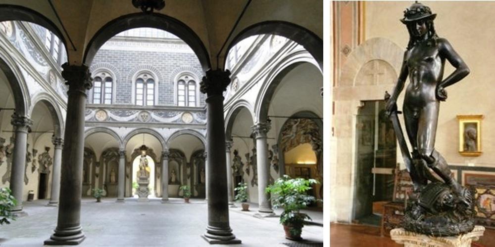 Links de binnenplaats van Cosimo's paleis in Florence. Rechts: De David van Donatello vie vanwege de sensuele houding veel discussie teweeg bracht. (foto's: Wikimedia)