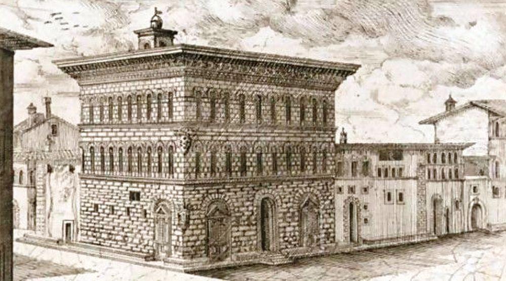 Cosimo's Palazzo de' Medici, gezien door de ogen van Ferdinando Leopoldo Del Migliore (1628-1696) (foto: Wikigallery)