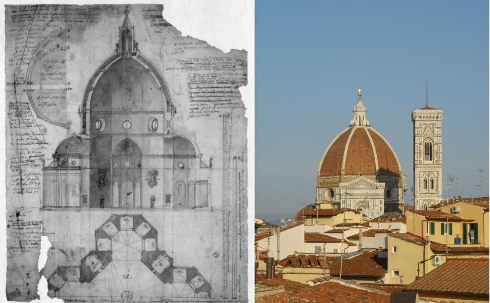 Ontwerptekening van de Duomo koepel in Florence.