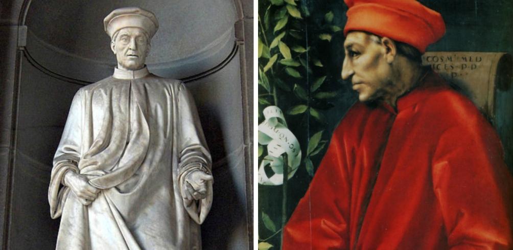 Cosimo de Medici: een standbeeld in het museum Palazzo degli Uffizi in Florence en een portret door Jacopo da Pontormo. (foto's Wikimedia)