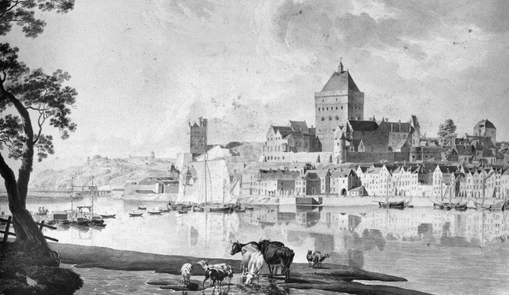 Een tekening van het Valkhof uit 1796 toen de burcht nog nét niet gesloopt was (foto: Wikimedia).