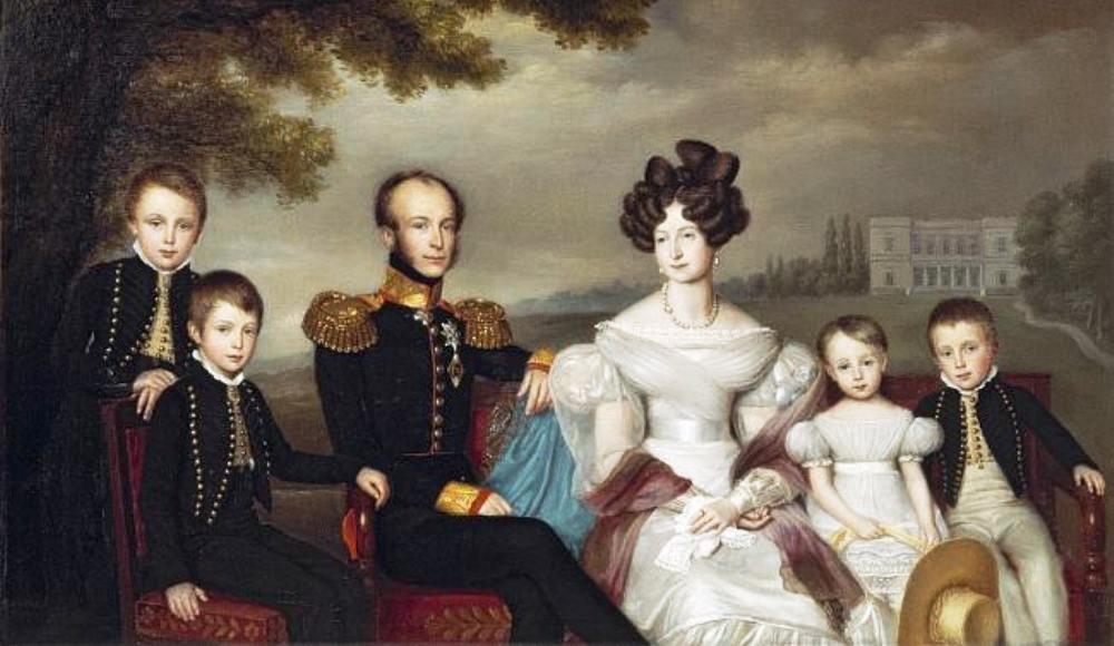 Koning Willem II met zijn gezin. Van links naar rechts: Willem III, Alexander, Willem II, Anna Paulowna , Sophie en Hendrik. (foto: Wikimedia)