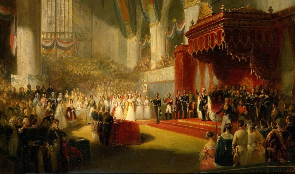 De inauguratie van koning Willem II in de Nieuwe Kerk Amsterdam op 28 November 1840 (foto: Wikimedia)