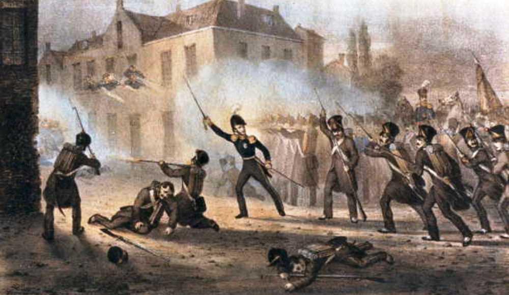 De Prins van Oranje voert het Nederlandse leger aan in de Slag bij Ravels op 3 augustus 1831. Litho 1831, Collectie Regionaal Archief Tilburg. (foto: Wikimedia)