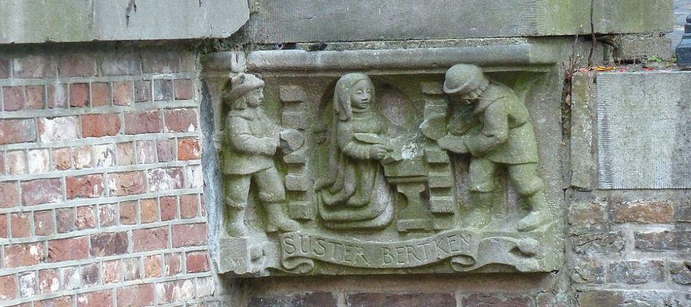Gedenksteen in Utrecht voor stadskluizenares Suster Bertken (1426/27-1514).