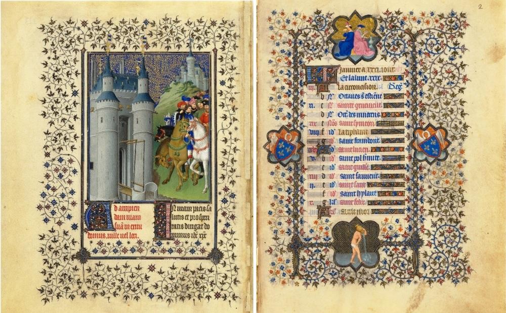 Twee losse pagina's uit Belles Heures, het eerste getijdenboek dat de Gebroeders van Limburg in de vroege 15e eeuw maakten in opdracht van duc du Berry.