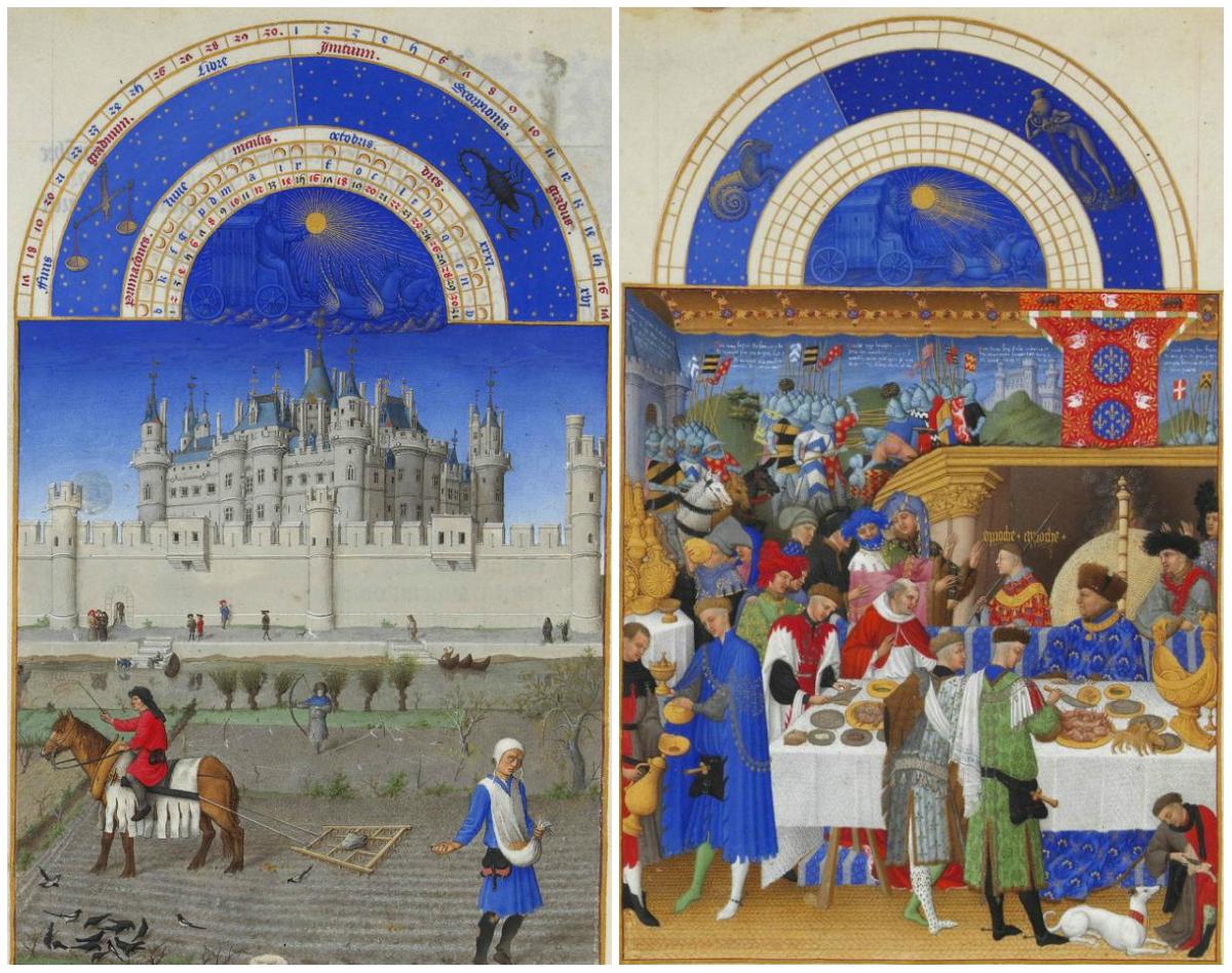 De maand januari en oktober uit het Getijdenboek Les Trés Riches Heures du Duc de Berry uit 1412/16 door de Gebroeders van Limburg.