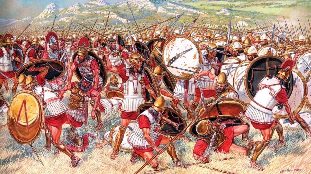 Illustratie exclusief gemaakt voor Ancient Warfare: de slag bij Leuctra in 371 v. Chr. Hierbij won de stadstaat Thebe van Sparta, die daarmee haar macht over de Peloponnese verloor. (foto: Ancient-Warfare.com)