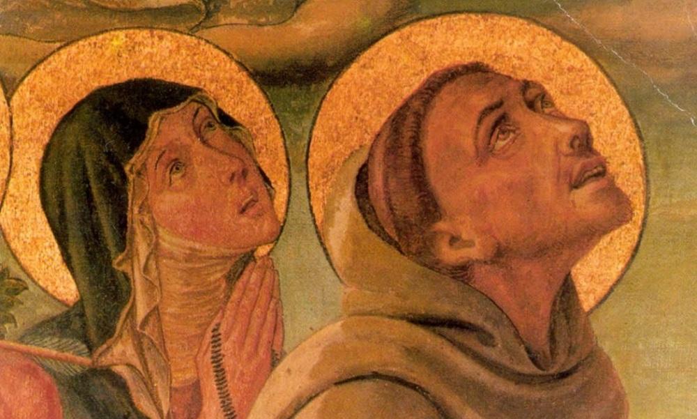 Franciscus van Assisi met de heilige Clara van Assisi (1193/1194 1253), die de orde der Clarissen stichtte.