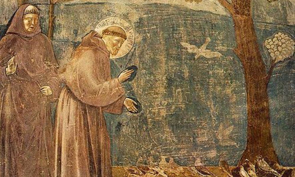 Franciscus van Assisi spreekt met de vogels.