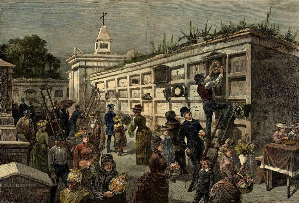 Inwoners van de Amerikaanse stad New Orleans versieren tombes van overledenen op een begraafplaats. Deze houtgravure werd door John Durkin gemaakt en in 1885 in Harper's Weekly gepubliceerd. (foto: Wikimedia)