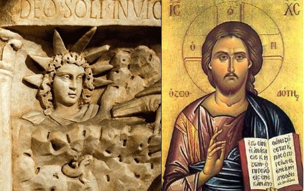 Volgens sommigen zijn bepaalde kenmerken van de figuur Jezus ontleend aan Mithras. Eén overeenkomst is dat beiden een titel dragen die verwijst naar het licht en de zon. Op de afbeelding is te zien dat zowel Mithras (links) als Jezus een stralenkrans om hun hoofd hebben. (foto: Wikimedia)