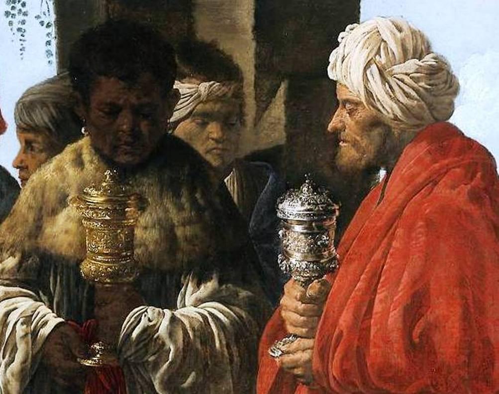 Volgens de traditie brachten de drie koningen Maria en Christus kostbare geschenken. Hier zien we Caspar en Melchior met wierook en mirre.