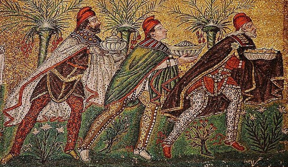 De Wijzen afgebeeld als Perzen op een 6e eeuws Byzantijns Mozaïk. (foto: Wikimedia)