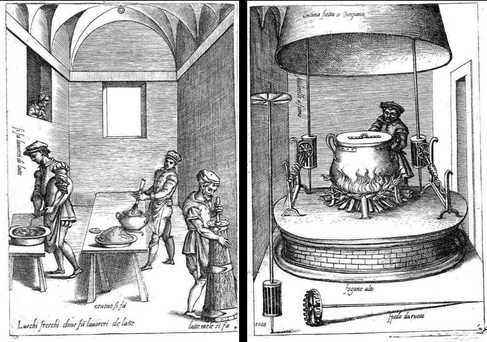 Afbeelding uit het 16e eeuwse kookboek Opera van Bartolomeo Scappi (c. 1500-1577), de persoonlijke kok van paus Pius IV.