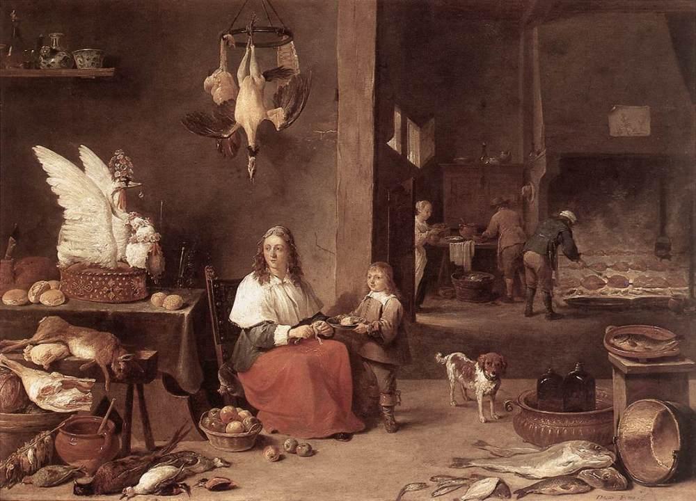 Kijkje in een 17e eeuwse keuken. Schilderij van David Teniers de Jongere uit 1644 (collectie Mauritshuis)