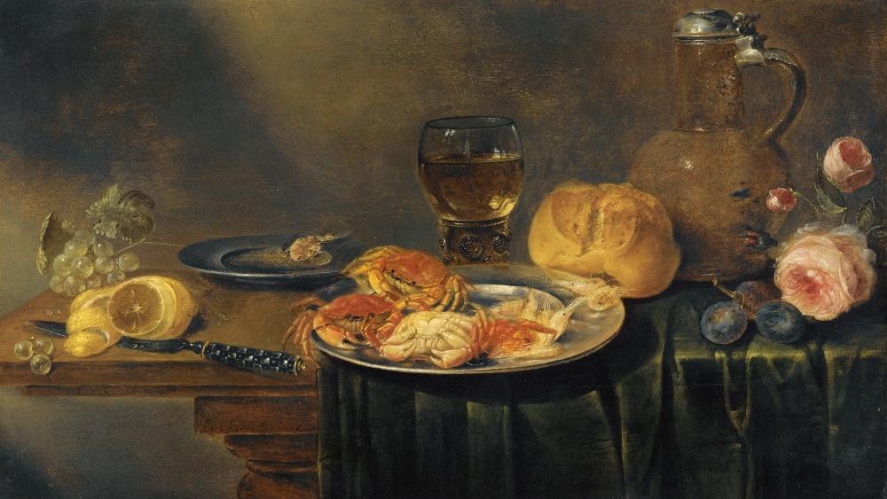 De trendbepalende invloed van het kookboek zorgde er ook voor dat er in de 17e eeuw veel vraag kwam naar stillevens met etenswaar. Stilleven door Alexander Adrianssen, 1641.