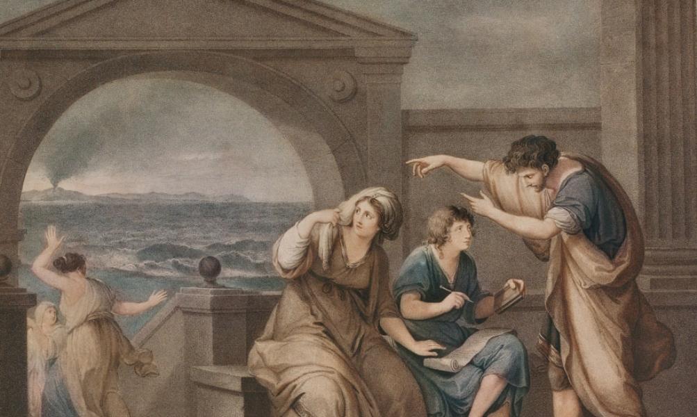 Plinius de Jongere legt de gebeurtenissen rond de uitbarsting van de Vesuvius vast op papier. (Angelica Kauffmann, 1785)