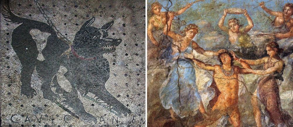 Fresco's uit de huizen van Pompeï. Links: Cave canem ('pas op voor de hond'). Ook bij de Romeinen waren indringers gewaarschuwd, rechts: mythologische scène.