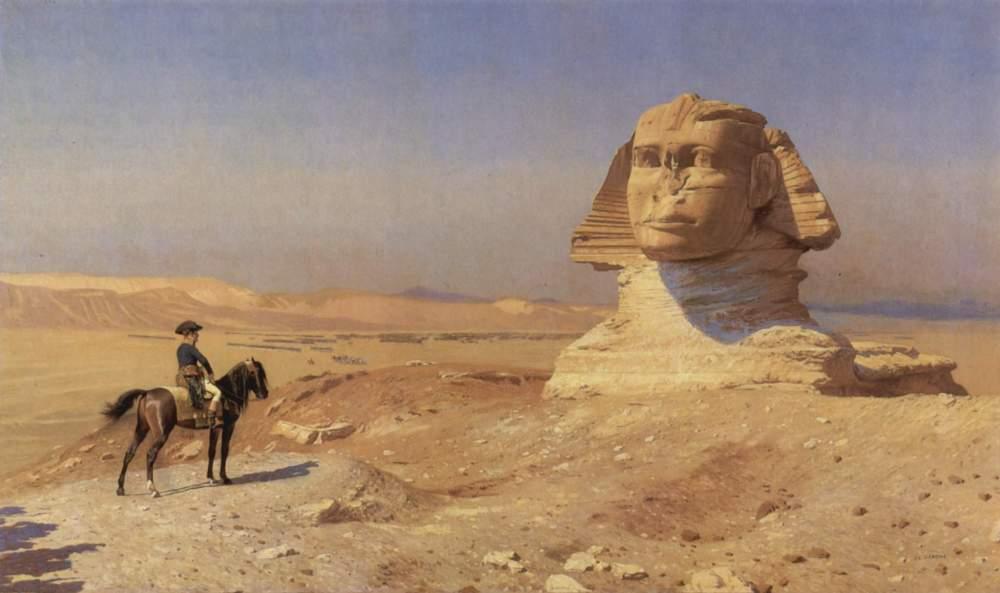 Op dit schilderij van Jean-Léon Gérome bewondert Napoleon de sfinx, die in die tijd nog half onder het woestijnzand verborgen lag. Ook in de 18e eeuw ontbrak de neus al.